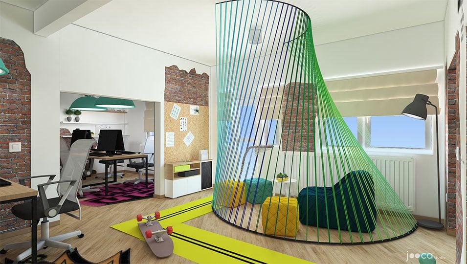 zona de relax este o instalatie colorata de tip strig art