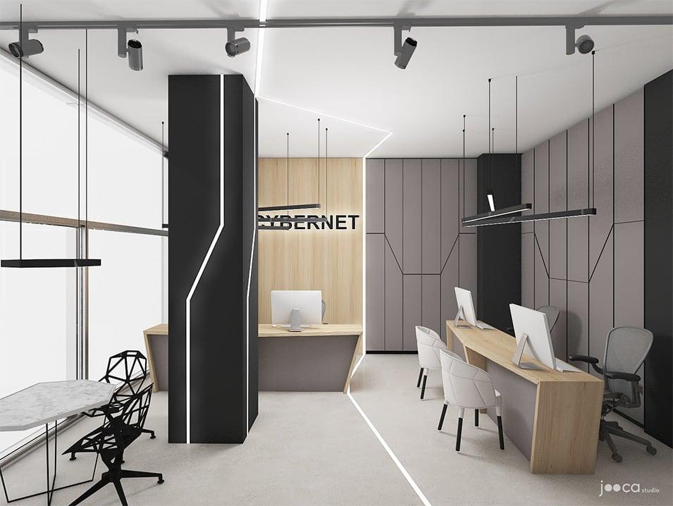 Iluminatul tehnic bazat pe surse led se face atat prin corpuri suspendate deastupra fiecarui birou, cat si prin benzi incastrate in pereti, stalpi si pardoseala. Dulapurile pentru depozitare sunt inalte si completeaza atmosfera tehnica si curata a conceptului.