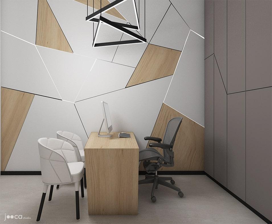 Peretele din biroul managerului este tratat diferit , fiind realizat prin placari de MDF si leduri incastrate