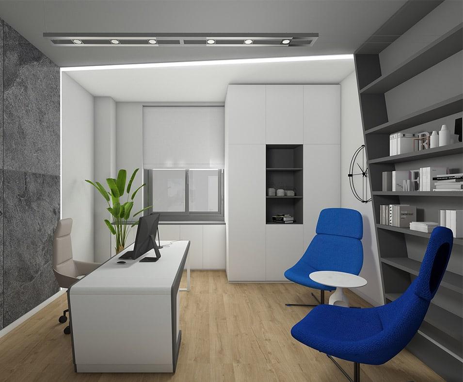 Biroul directorial are o atmosfera mai elecanta, dar pastreaza acceasi nota futurista