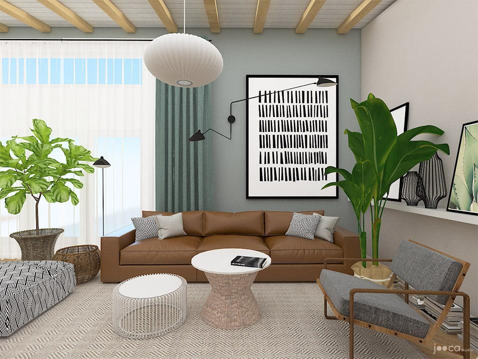 Amenajea livingului open space intr-un stil cu influente scandinave, culori neutre si accente de lemn