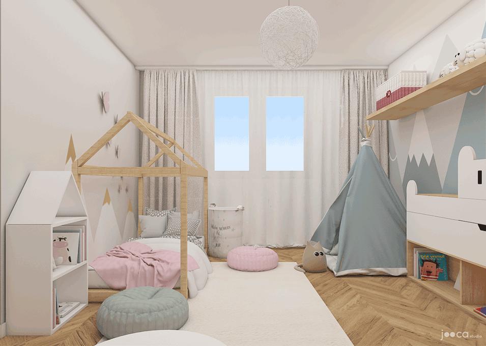 Camere Montessoriane : Camera fetitei contine elemente esentiale din stilul montessori iar