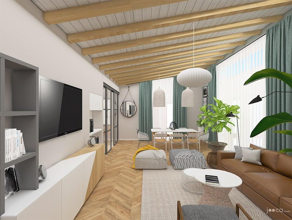 Amenajea livingului intr-un stil cu influente scandinave, culori neutre si accente de lemn