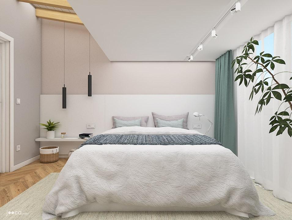 Dormitorul matrimonial este simplu dar perfect pentru odihna, realizat in culori calde si deschise.
