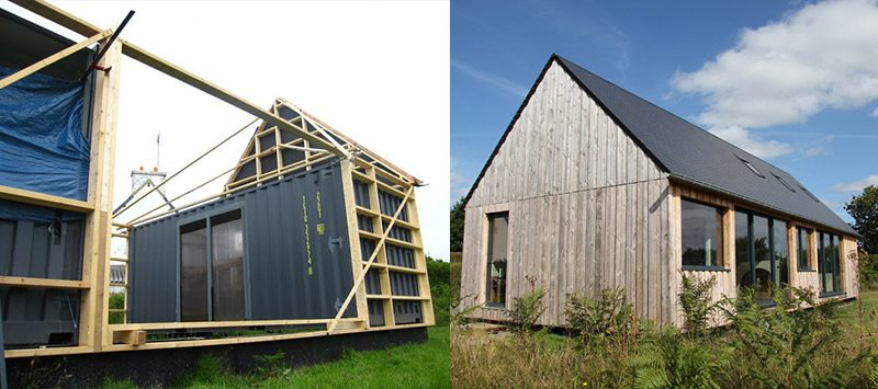 Un alt exemplu before and after, in care se poate observa structura de lemn cu care a fost imbracata casa si cu ajutorul careia s-a putut realiza acoperisul tip sarpanta.