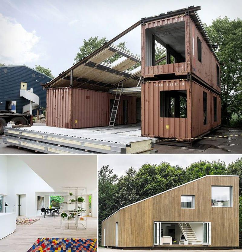 "In exemplul acesta poti vedea un ""before and after"" al unei case din containere, cum arata ca structura interioara si cum arata constructia la final. Sursa foto: https://arcgency.com/wfh-house"
