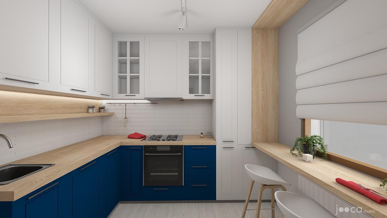 Randare de la bucătărie. Bucătăria este într-un contrast de stil cu restul casei. Aici clienții au vrut neapărat o bucătărie cu fronturi profilate. Culorile contrastante și barul-contur din lemn echilibrează însă această tendință spre clasic.