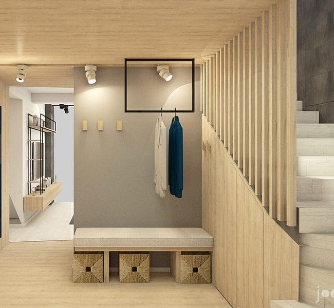 Randare în zona living-ului și a dining-ului. Monoblocul de lemn care înglobează holul de intrare și dining-ul ajută și la separarea vizuală a dining-ului de living.