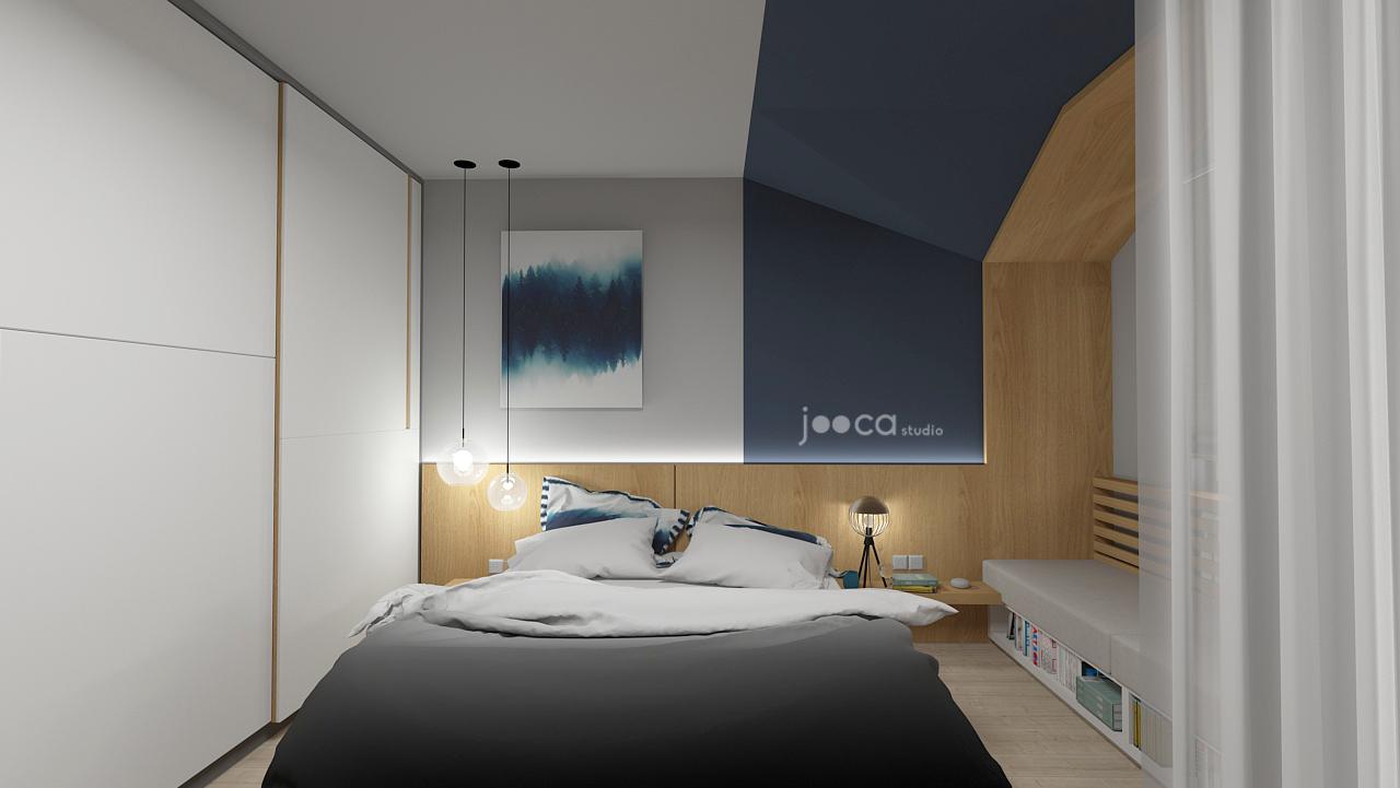 Randare din dormitorului. Ideea de volum de lemn, pornită de la monoblocul de la parter, a fost adaptată și în dormitor, în zona banchetei de la geam.