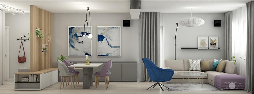 Pentru o amenajare aerisita, am ales sa pastram un spatiu deschis intre holul de intrare, zona de dining si zona de living. Culorile sunt neutre, in special griuri si nuante de bej. Accesntele sunt redate prin taptieriile scaunelor de la masa de dining, taburetul canapelei si fotoliul albastru si tablouri abstracte. Insertiile metalice negre completeaza compozitia si ii ofera o grafica curata.