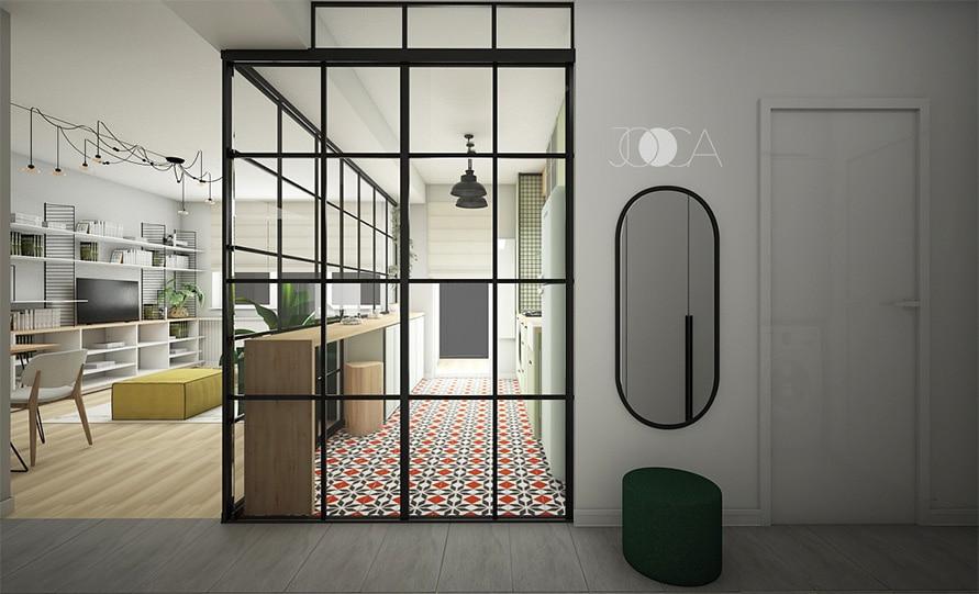 Holul de intrare este deschis si simplu. El permite acces direct in living. Spatiul din bucatarie se acceaseaza cu ajutorul unor usi glisante din sticla si cadru metalic