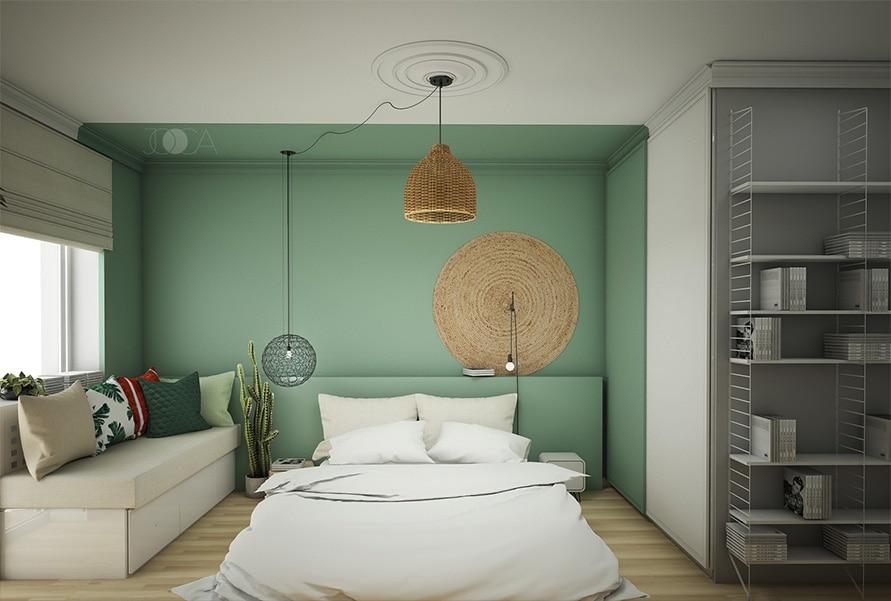 In dormitorul matrimonial am optat pentru un pat jos. Tablia patului este vopsita in aceeasi nuanta de verde ca si peretele din spate. In stanga patului exista o zona de relaxare foarmata dintr-o bancheta, iar pe pe peretele de la intrare este o biblioteca deschisa.