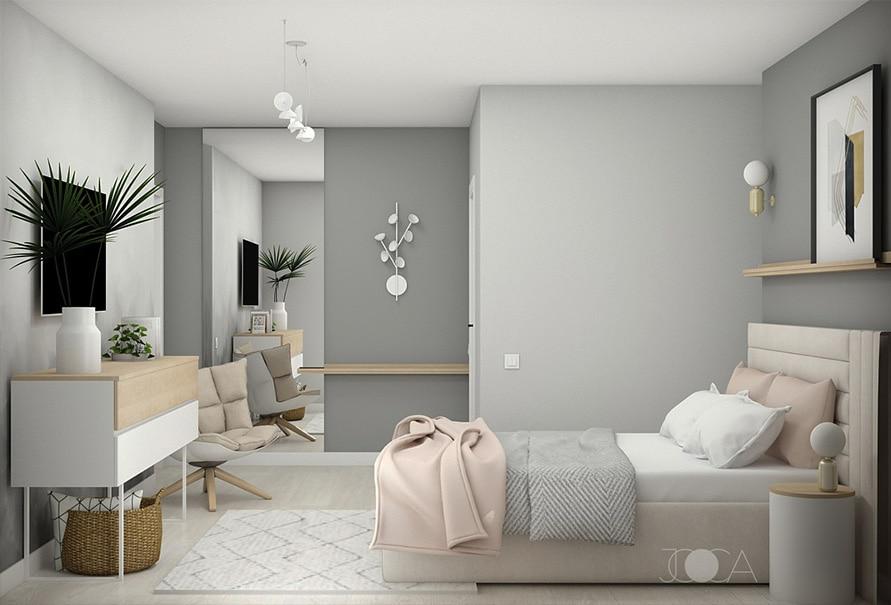 Pentru amenajarea dormitorului matrimonial, am ales un pat tapitat, cu o tablie la care ne-am jucat cu elementele grafice. Atmosfera este una light, in tonuri calde de gri. Comoda din fata patului este perfecta pentru depozitare, iar accentele de lemn aduc caldura in amenajare.