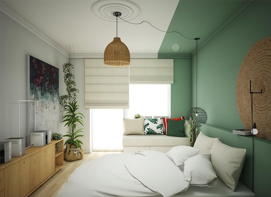 Comoda din fata patului este realizata din mdf furniruit, intr-o esenta de stejar. Bancheta de langa geam este tapitata intr-o stofa de culoare deschisa. Culoarea verde din spatele patului se intinde si pe tavan si creeaza o alveola colorata in spatiul dormitorului.