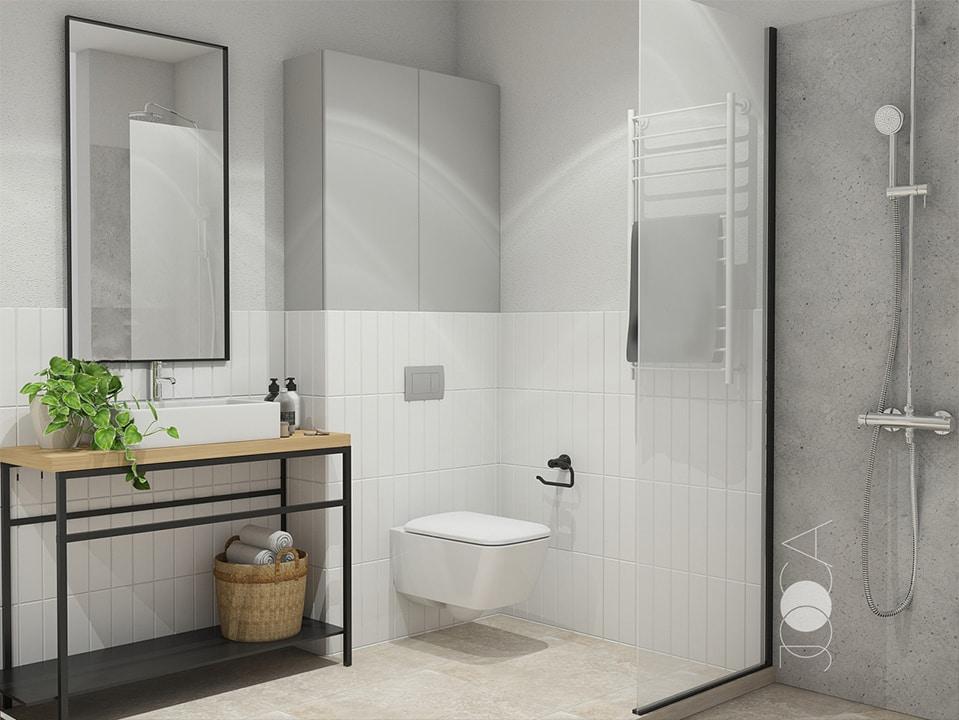 Placile ceramice cu aspect de beton se combina cu cele albe simple si sunt completate de un mobilier aerisit din structura metalica.
