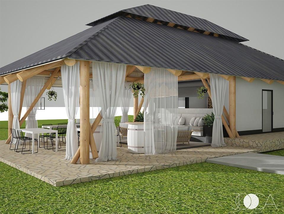 Foisorul are o structura de lemn si gazduieste o bucatarie de vara, u spatiu de luat masa si o zona de lounge.