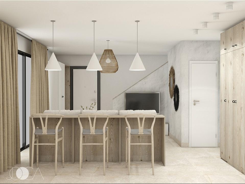 Living-ul si bucatarie sunt amplasate intr-un spatiu deschis. Gama cromatica este luminoasa si calda, cu accente traditionale.