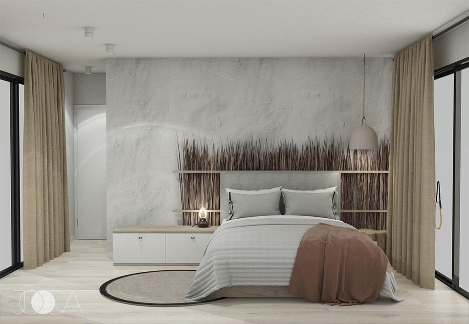 Tablia patului este decorata cu stuf natural.