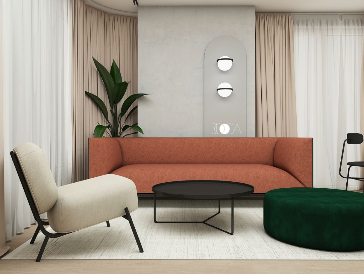 Canapeaua foarte confortabila, in nuanta caramizie iesie in evidenta intr-un openspace luminos.