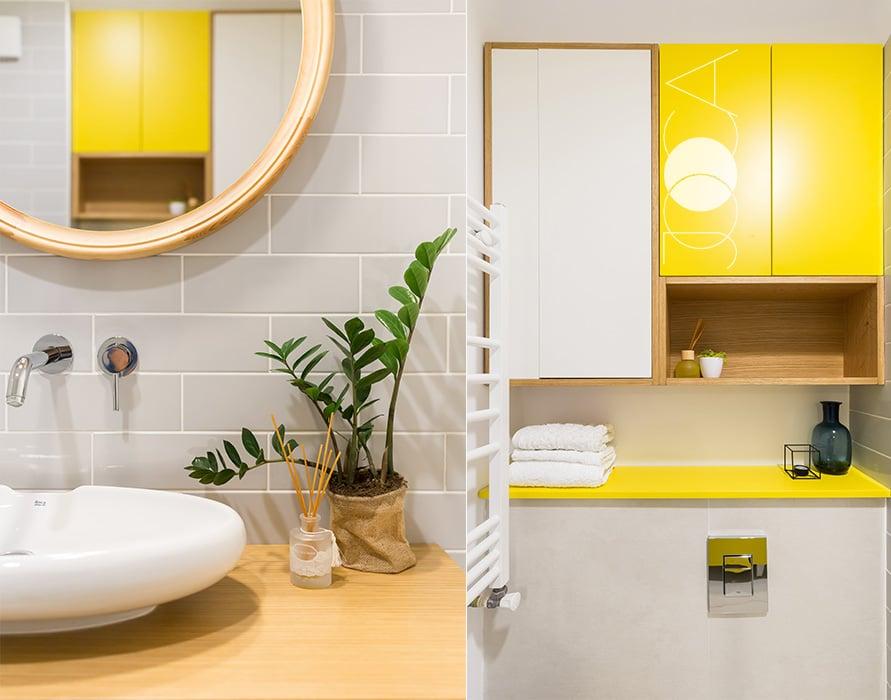 Accentele de galben inveselesc instant aceasta baie.