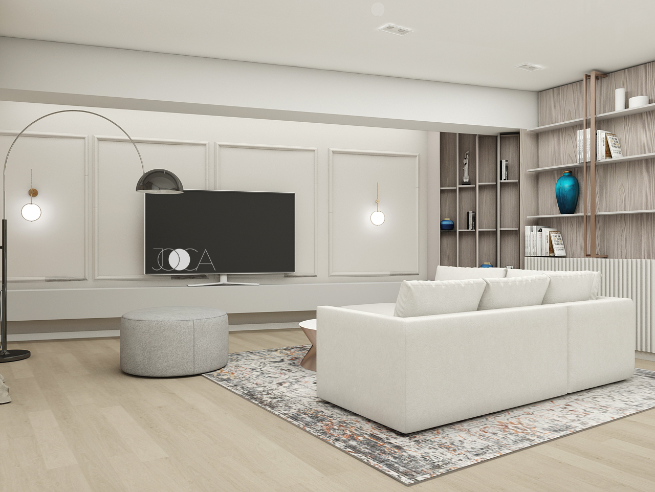 Peretele cu comoda tv este mult mai simplu. Profilele decorative cu iz clasic contrasteaza cu minimalism-ul comodei.