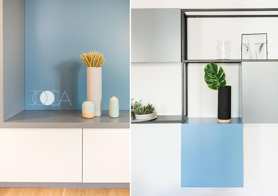 In amenajarea living-ului ne-am jucat cu forme si culori, pastrand un stil cat mai aerisit si modern.