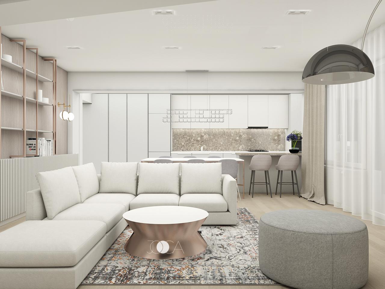 Accentele de cupru se continua si in zona living-ului. Covorul cu aspect vintage se contureaza perfect pe fundalul neutru din restul amenajarii.