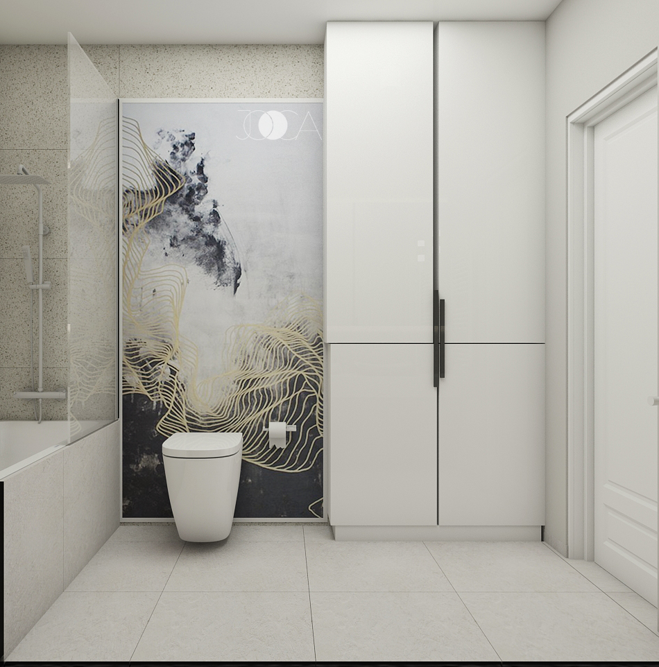 Amenajarea baii continua conceptul cromatic din restul apartamentului. Aici accentul cade pe print-ul abstract cu accente discrete de auriu.