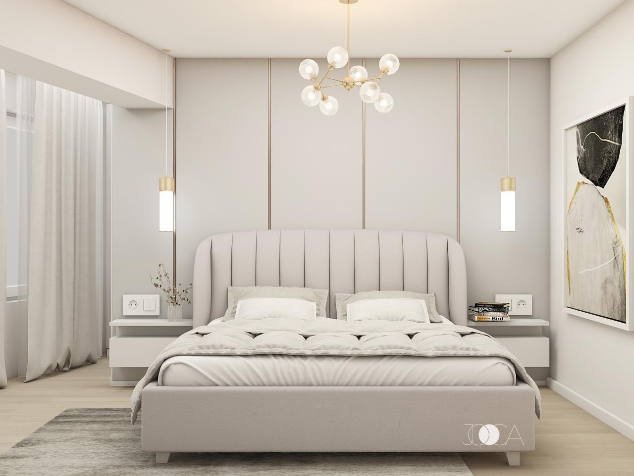 Tablia patului este usor curbata si are cusaturi verticale. Elementele verticale se regasesc si pe peretele din spate, prin profilele aurii. Toate acestea, alaturi de accentele aurii, dau amenajarii un aer elegant.