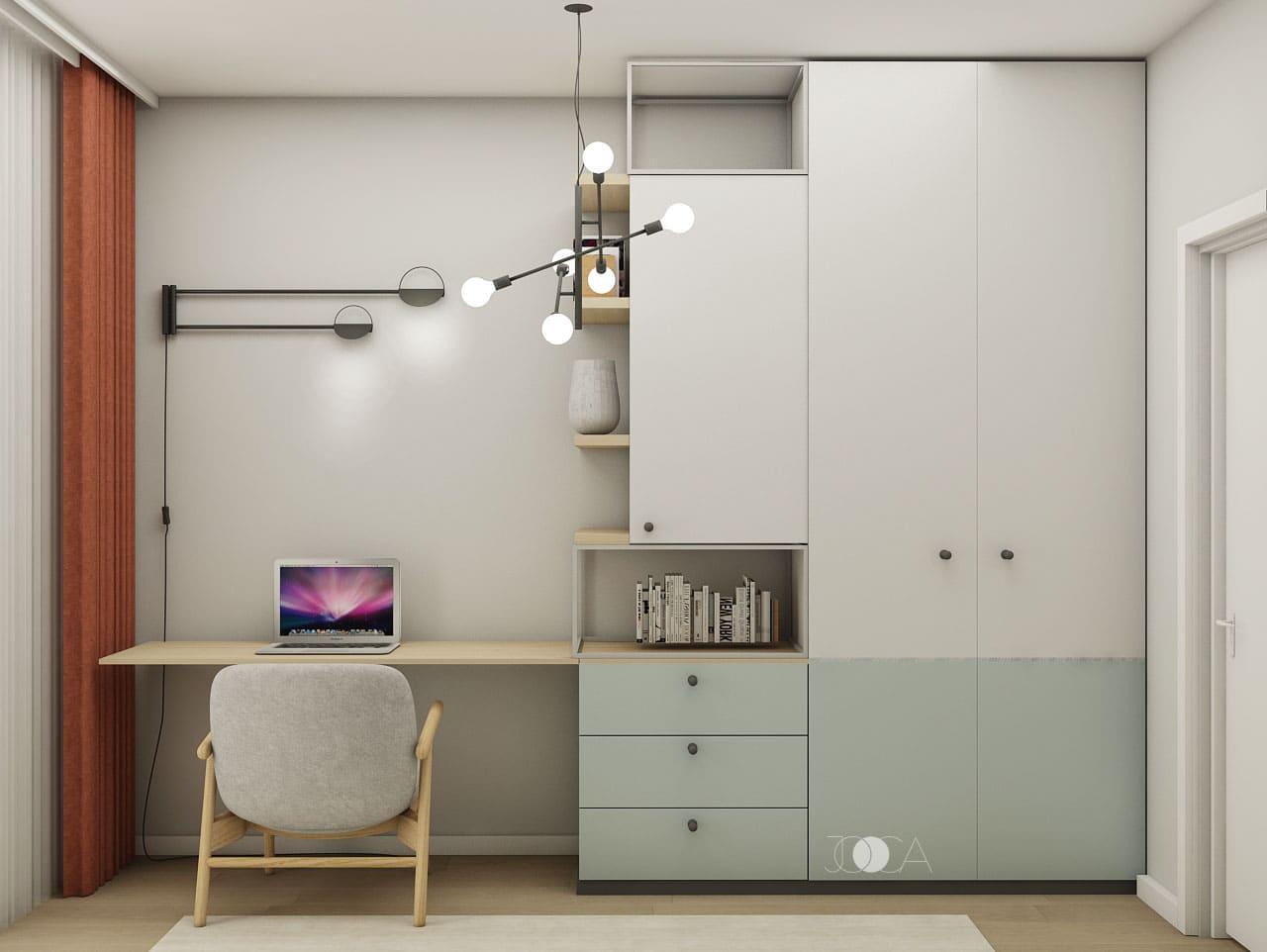 Spatiile de depozitare inchise sunt mixate cu cele deschise pentru a crea un spatiu aerisit si placut.