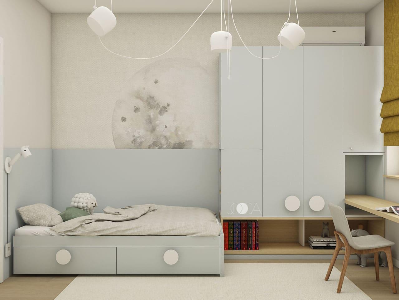 Tapetul cu o imagine minimalista, separa zona de depozitare de cea de dormit, intr-o maniera discreta.