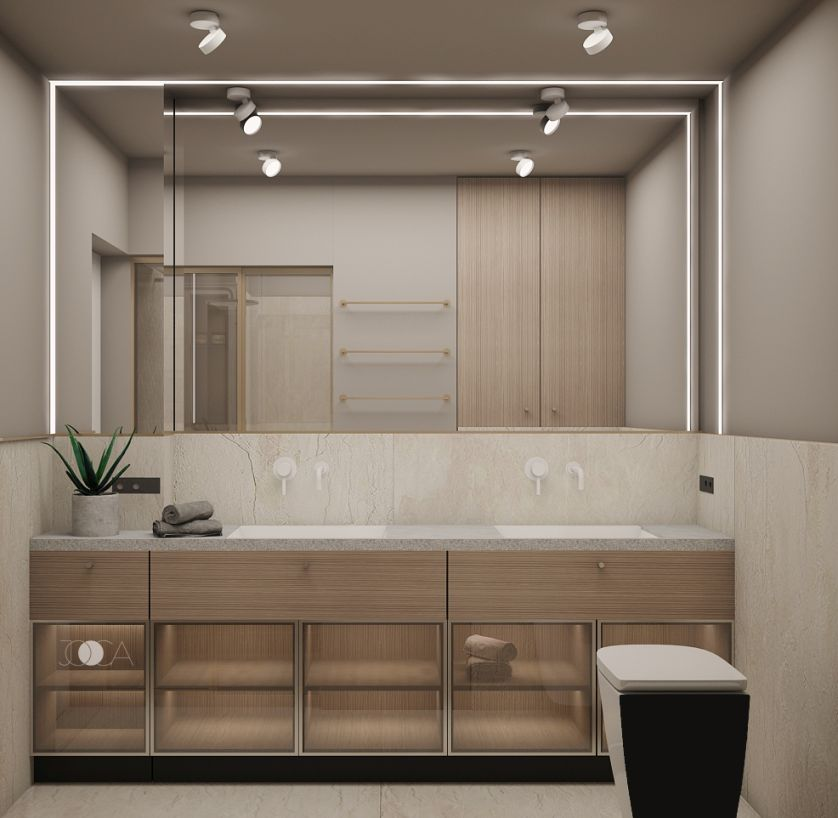 Lavoarele undermount se integreaza perfect intr-un design modern si minimal. Mobilierul partial deschis, luminat la interior, pastreaza un design aerisit si modern.