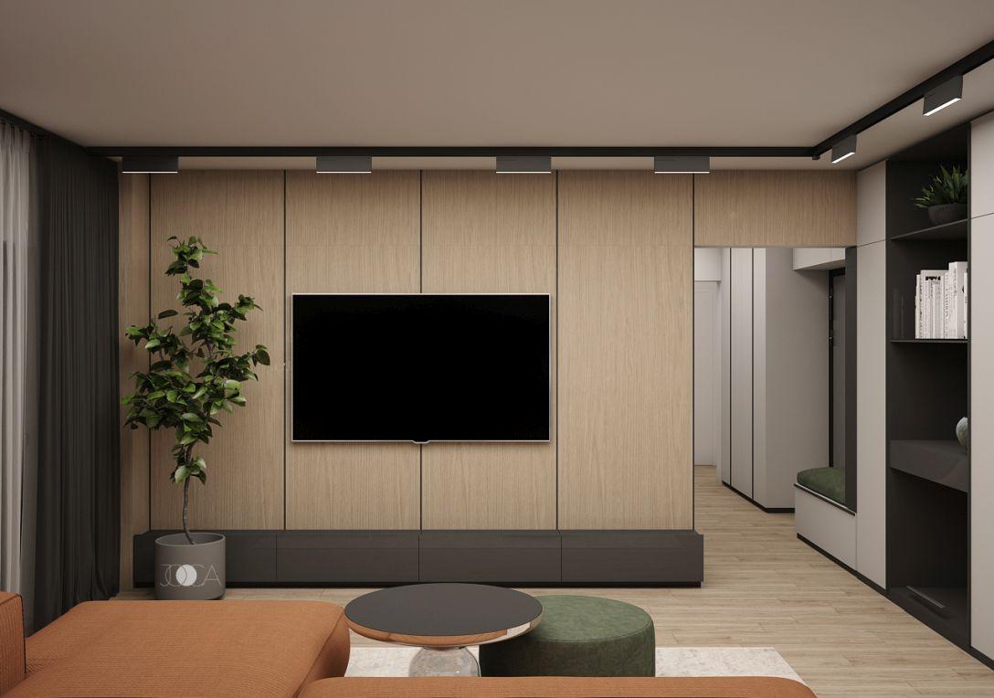 Placarea peretelui cu lemn reda o atmosfera calda in living