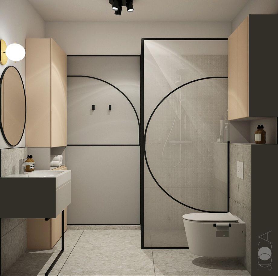 Formele curbe se regasesc si in baie, atat in zona paravanului de sticla cat si pe perete