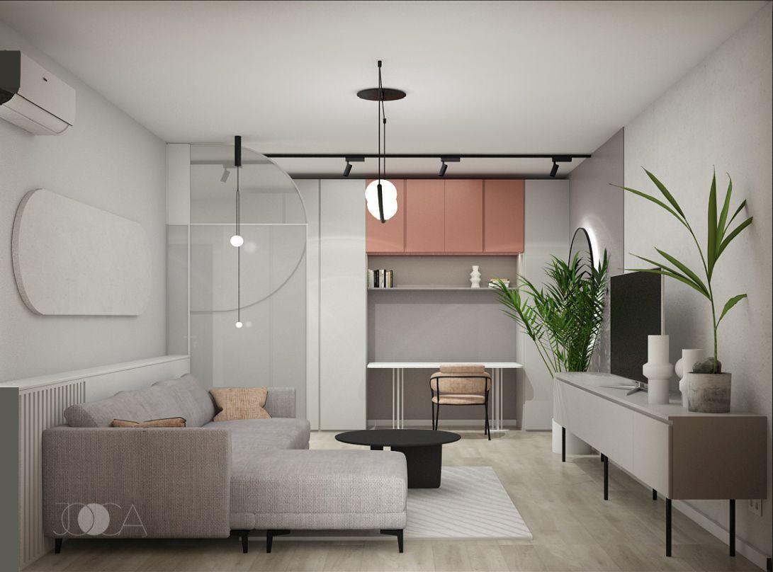 Biroul se integraza foarte bine in spatiul de living, fara sa dea senzatia de aglomerare.
