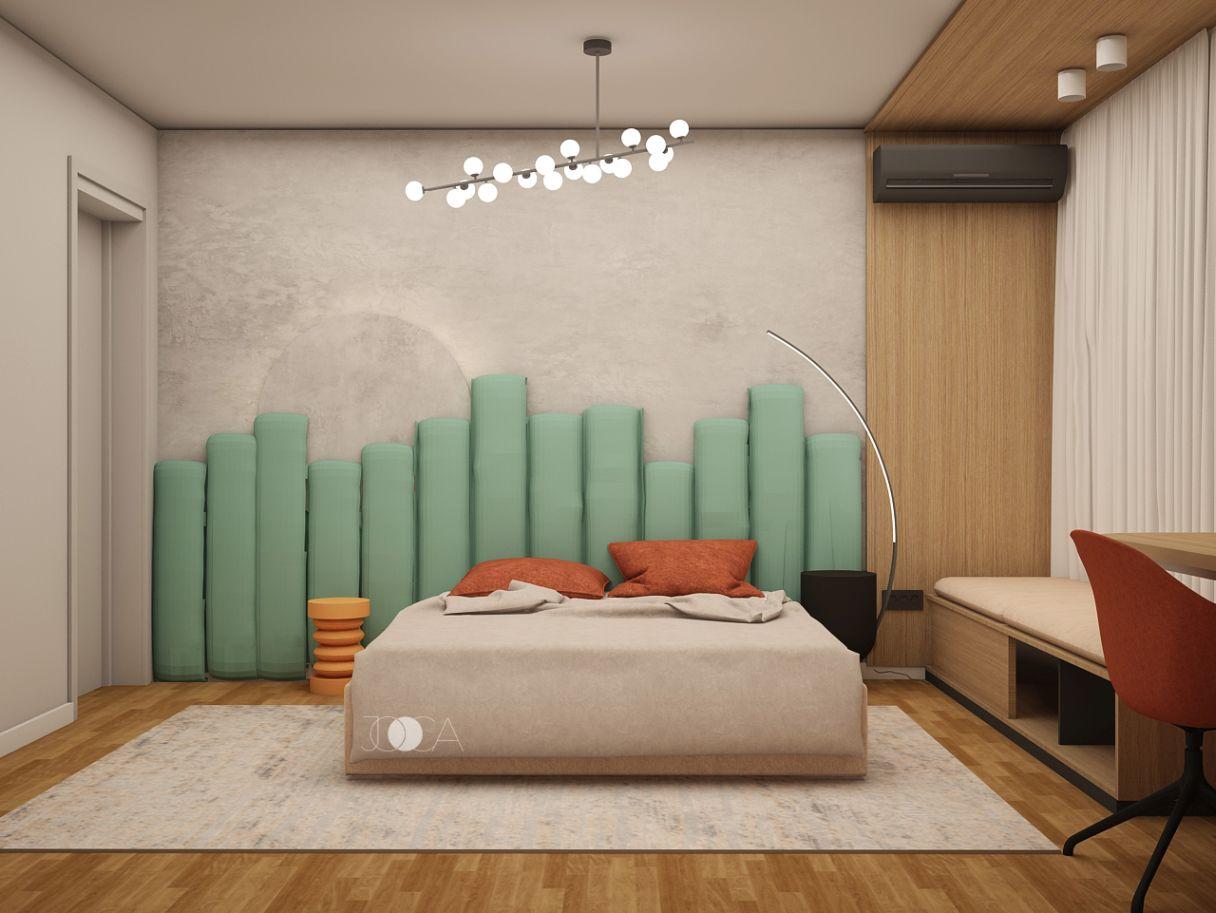 Lemnul cald, combinat cu nuante de mint, creeaza o perfecta camera de oaspeti.