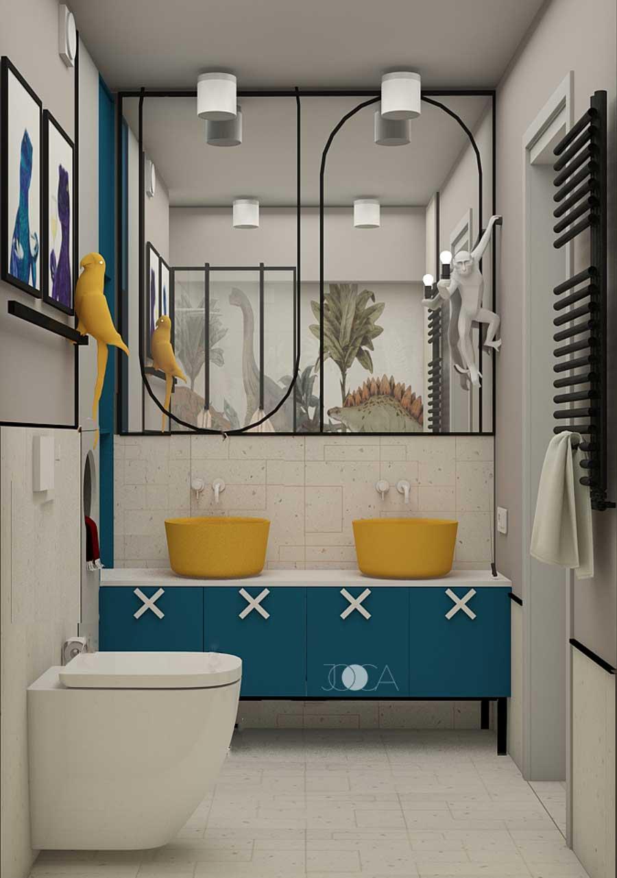 Baia copiilor vine in completarea dormitorului prin folosirea unei grame cromatice si elemente similare. Acelasi albastru si galben conureaza atmosfera acestei bai.