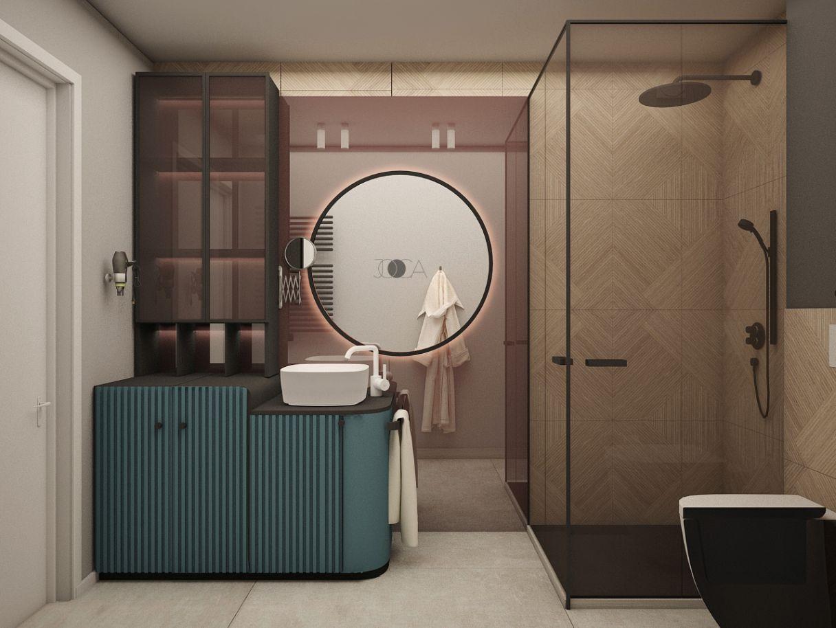 Combinatia de materiale si texturi, precum oglinda clara, suprapusa peste oglinda fumurie si patter-nul de lemn creeaza o atmosfera vesela in baie.