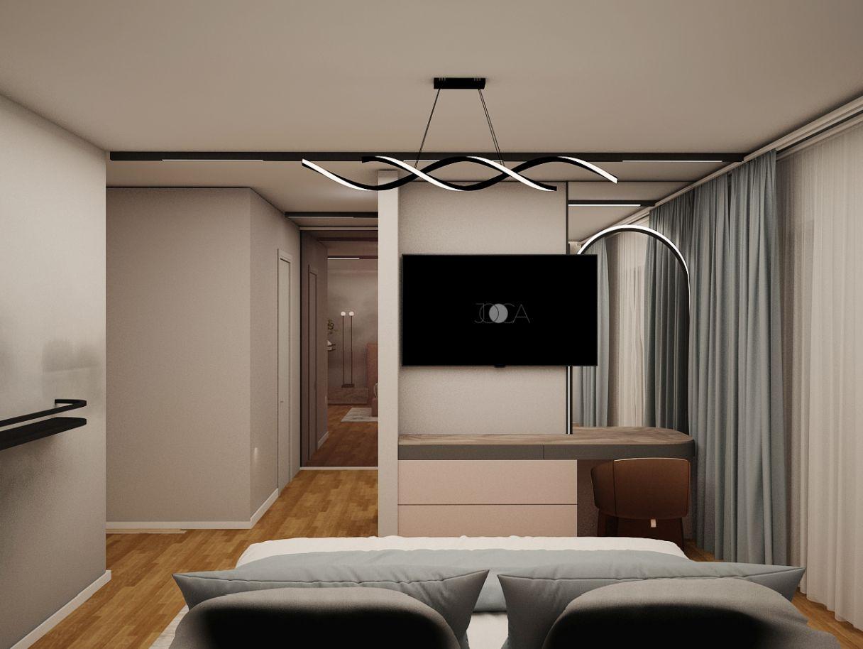 Culorile deschise si calde sunt perfecte pentru dormitorul matrimonial.