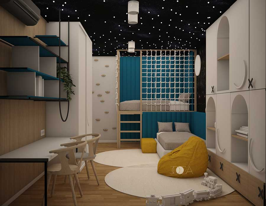Camera copiilor este cel mai vesel loc din apartament. Albastrul si galbenul se completeaza perfect si indeamna la joaca.
