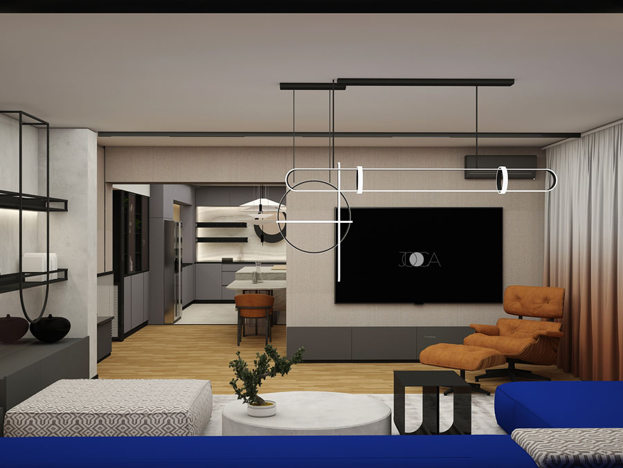 Mobilierul este simplu, cu mix-uri de materiale si culori, precum : oglinda fumurie, accente de lumina, placari cu pattern-uri de textil si mdf vopsit.